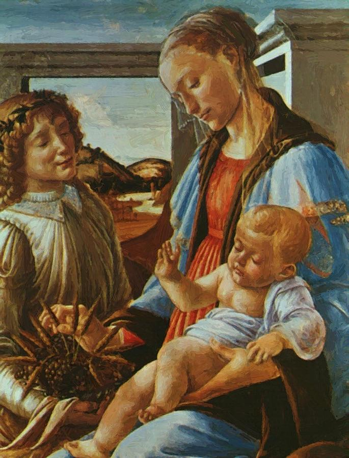 Madonna Painting - Madonna And Child With An Angel by Botticelli Sandro