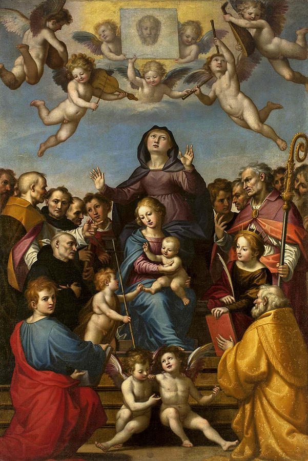 Fra Bartolomeo Painting - Madonna And Child With Saint Anne And The Patron Saints Of Florence by Fra Bartolomeo