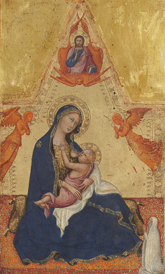 Canvas Prints Painting - Madonna Of Humility The Blessing Christ Two Angels And A Donor by Andrea di Bartolo