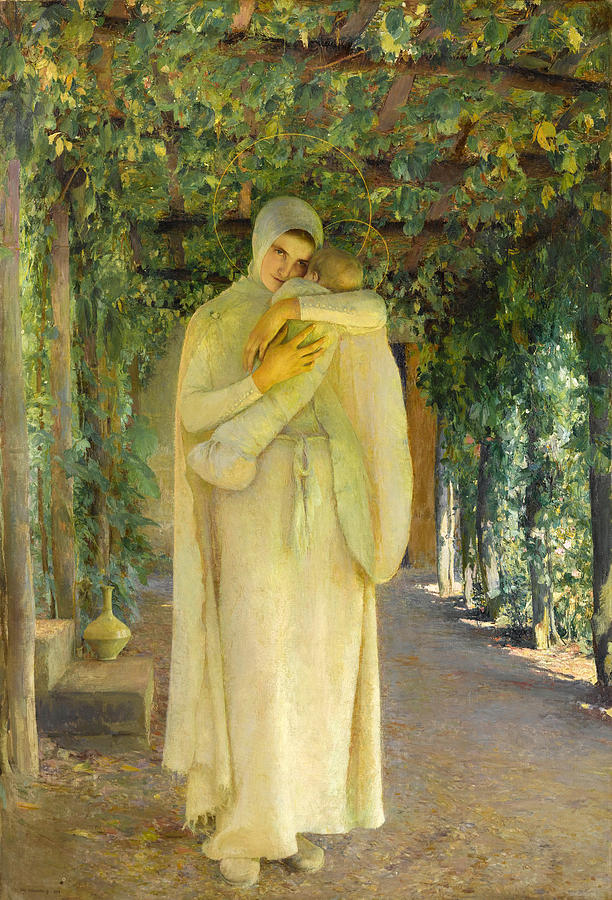 Canvas Prints Painting - Madonna Of The Arbor by Pascal-Adolphe-Jean Dagnan-Bouveret