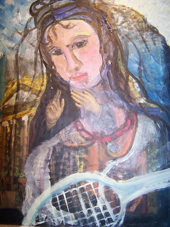 Tennis Painting - Madonna Of The Racket by Geraldine Liquidano