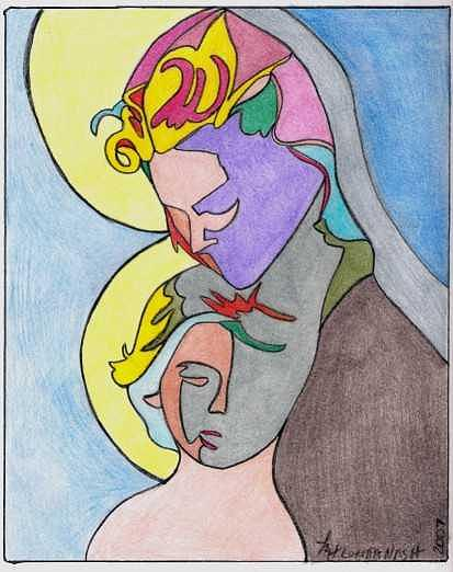 Portrait Drawing - Madonna With Child by Loretta Nash