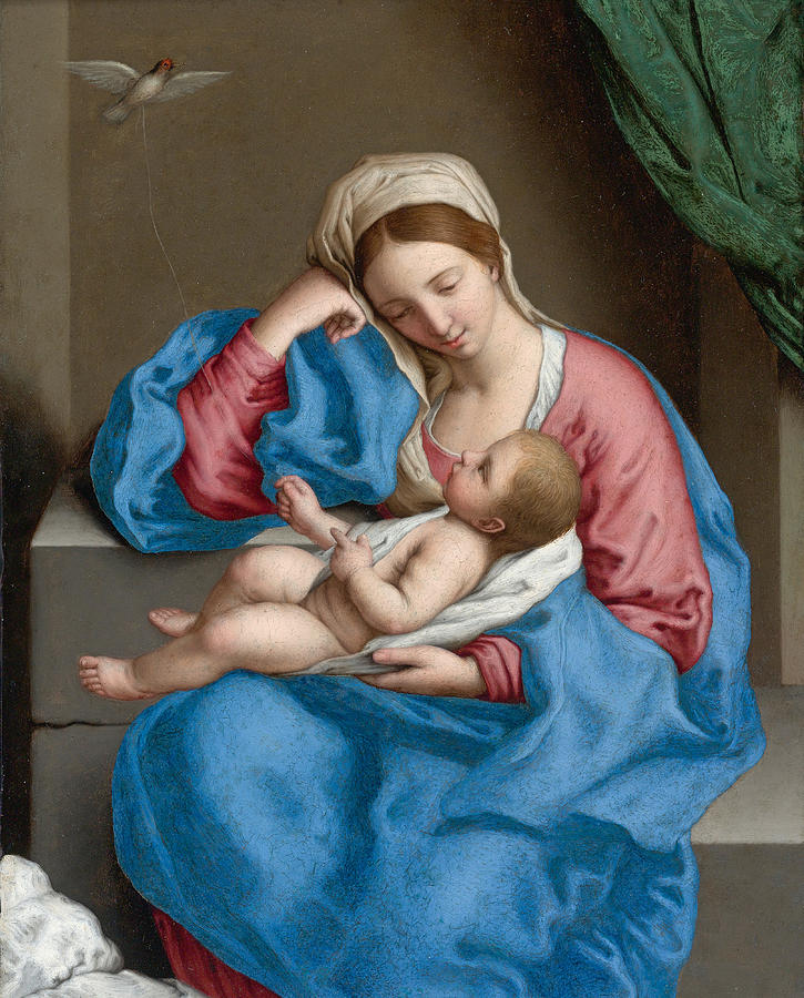 Sassoferrato Painting - Madonna With The Infant Christ Child Holding A Goldfinch On A String  by Sassoferrato