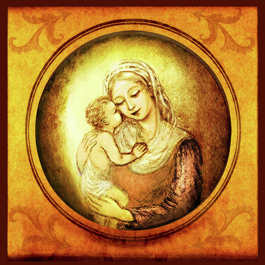 Madonna And Child Mixed Media - Madonna With The Kissing Child - In Golden Frame by Ananda Vdovic