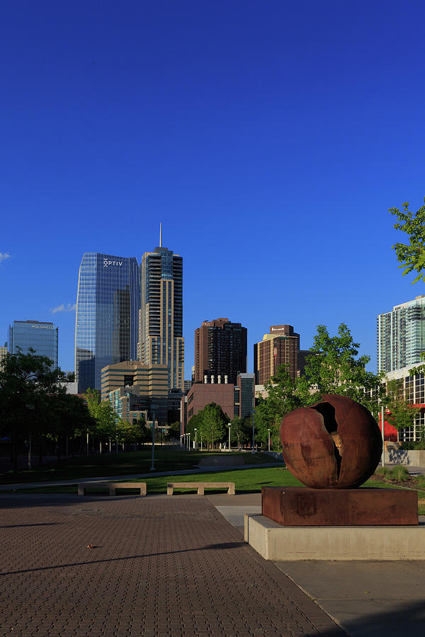Madre Sculpture And Denver Skyline Photograph
