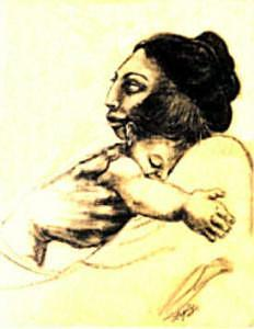 Mother Holding Baby Painting - Madre Y Hijo by Mary Louise Lopez