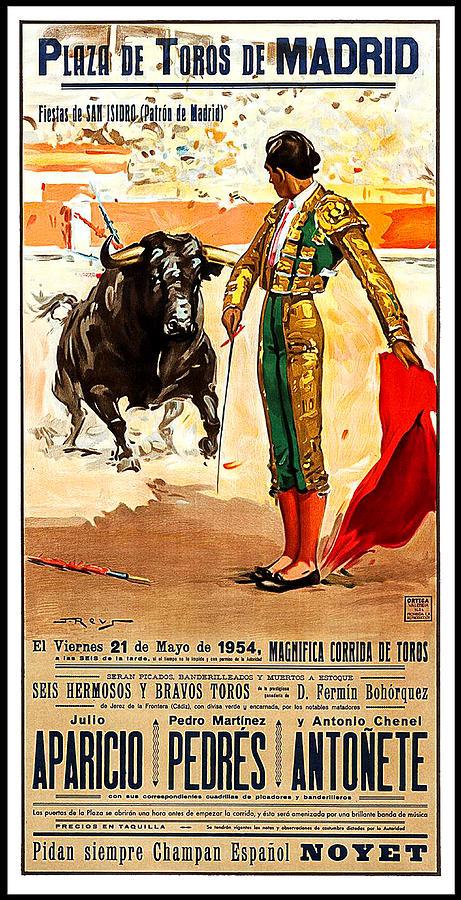 Madrid Painting - Madrid, Arena, Bullfighting, Vintage Poster by Long Shot