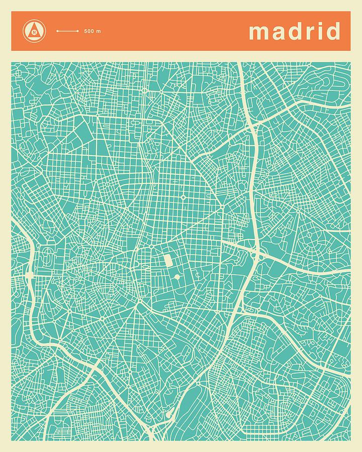 Madrid Street Map Digital Art by Jazzberry Blue