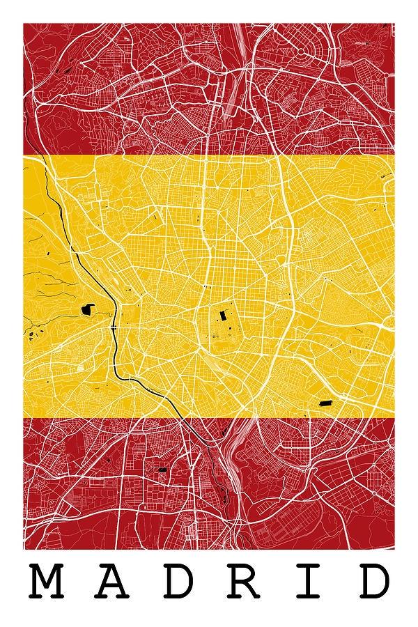 Road Map Of Spain.Madrid Street Map Madrid Spain Road Map Art On Spanish Flag By Jurq Studio