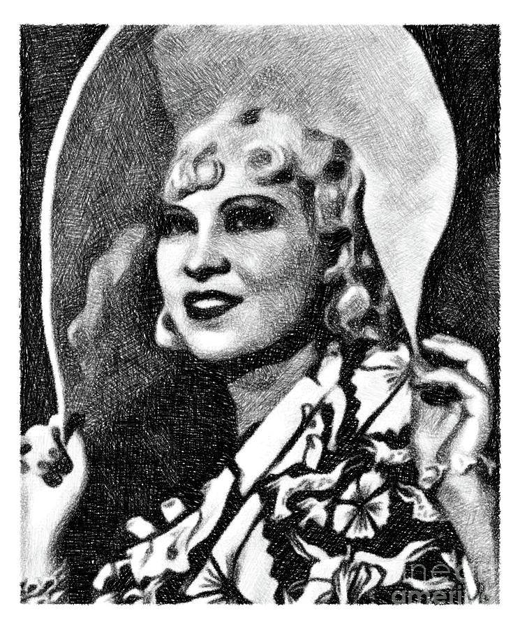 Mae West, Vintage Actress By Js Drawing