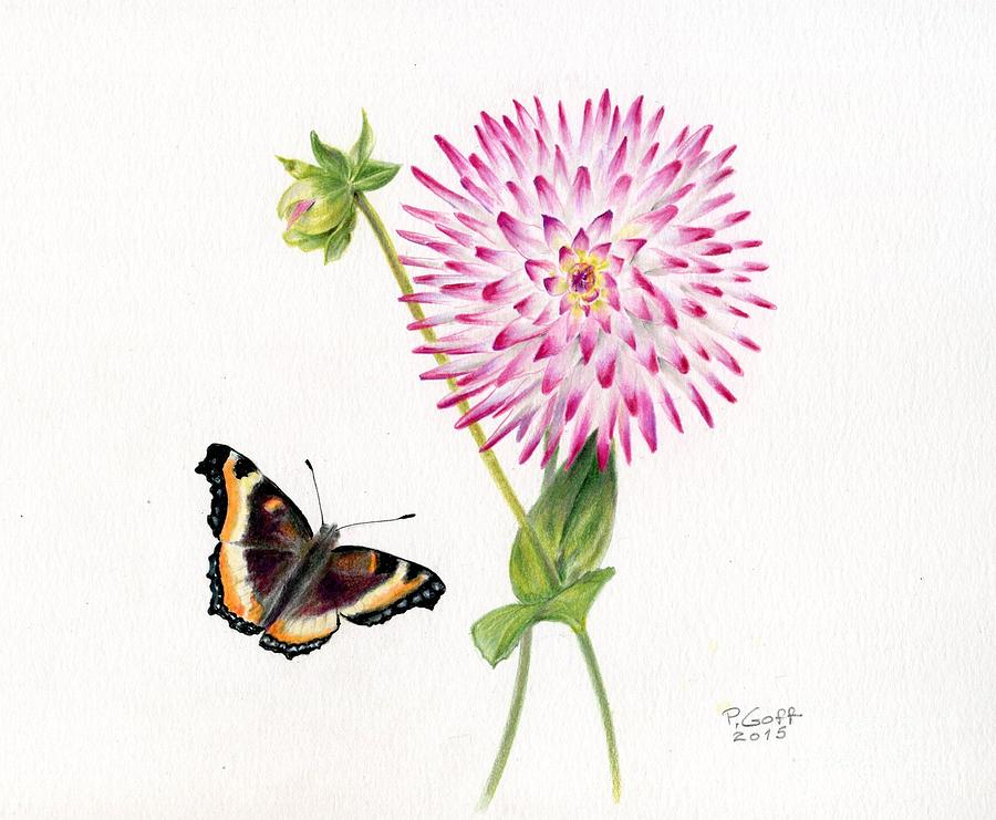 magenta dahlia with butterfly by Penrith Goff