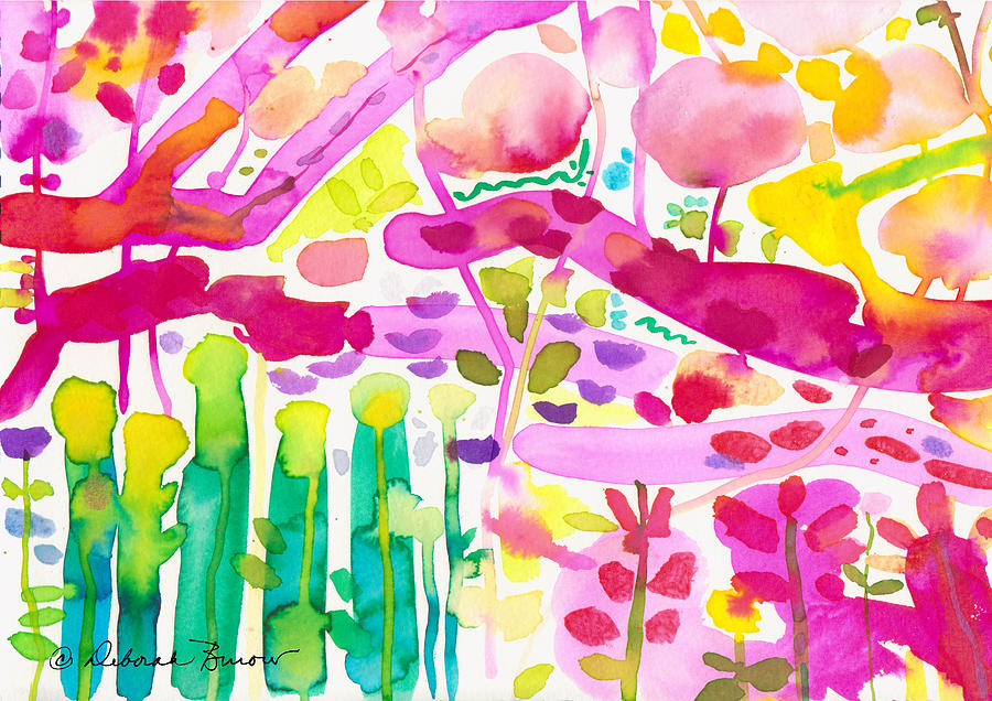Abstract Garden Painting - Magenta Garden In The Afternoon by Deborah Burow