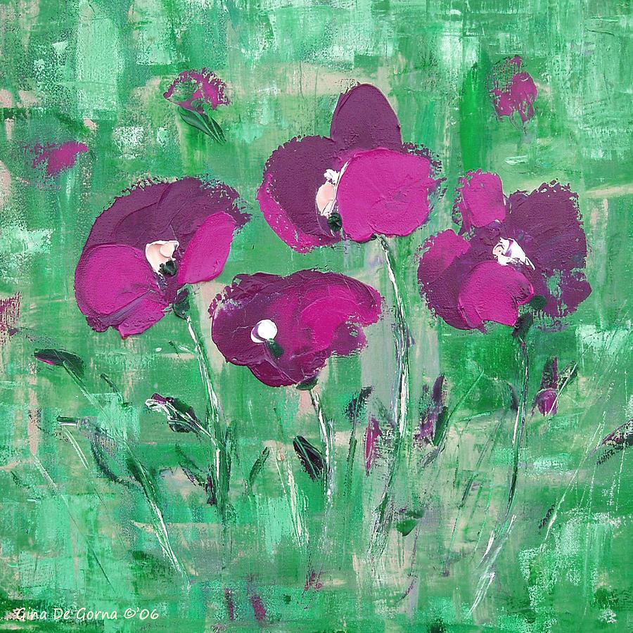 Magenta Painting - Magenta Poppies by Gina De Gorna
