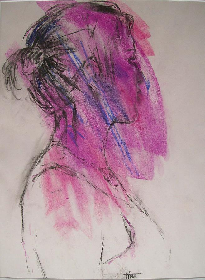 Portrait Painting - Magenta by Tina Siddiqui