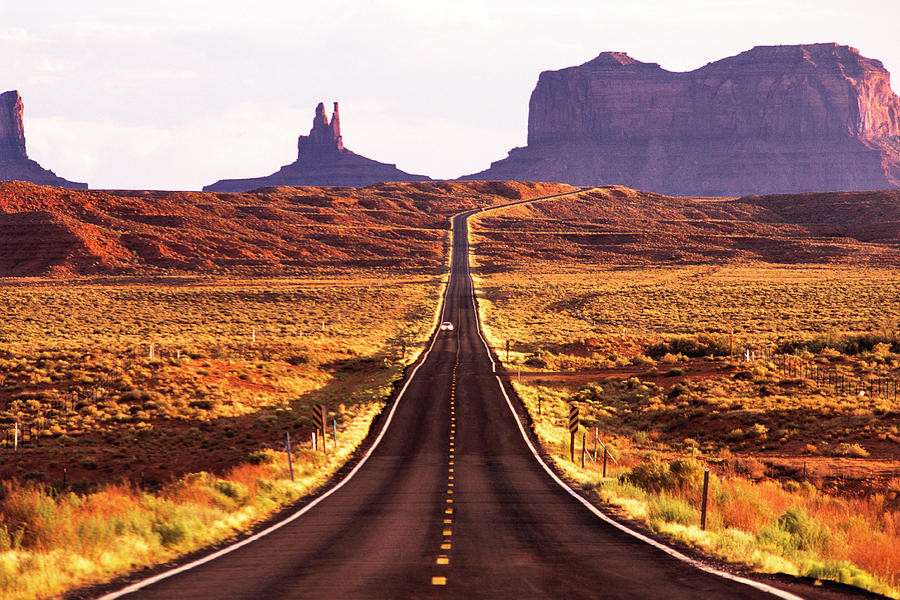 Landscape Photograph - Magestic And Lonesome Road To Monument Valley by Kim Lessel