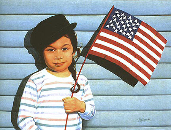 American Flag Painting - Maggie Holding The Stars And Stripes by Gary  Hernandez