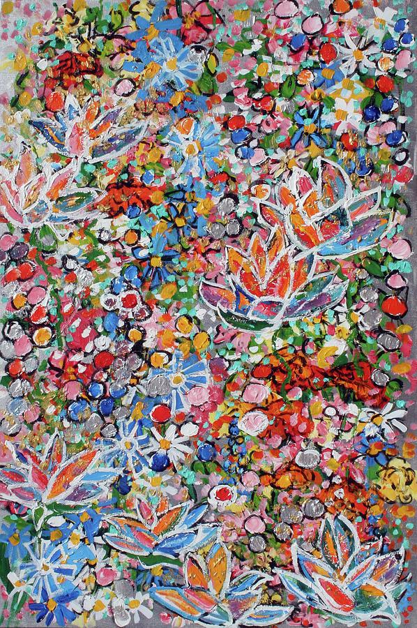 Lotus Painting - Magic Color Garden 201757 by Alyse Radenovic