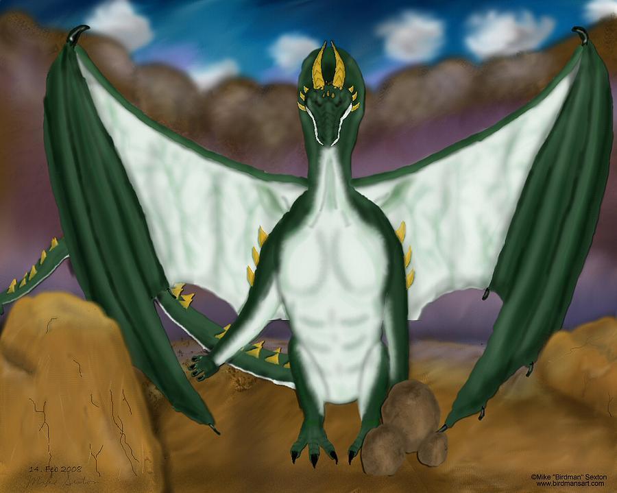 Dragon Painting - Magic Dragon Mountain by Mike Sexton