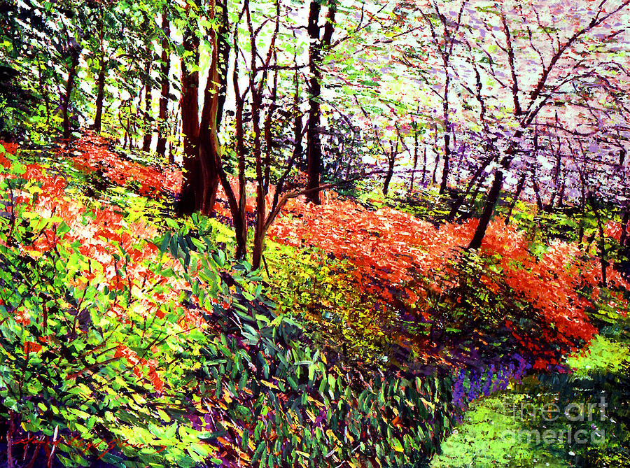 Trees Painting - Magic Flower Forest by David Lloyd Glover