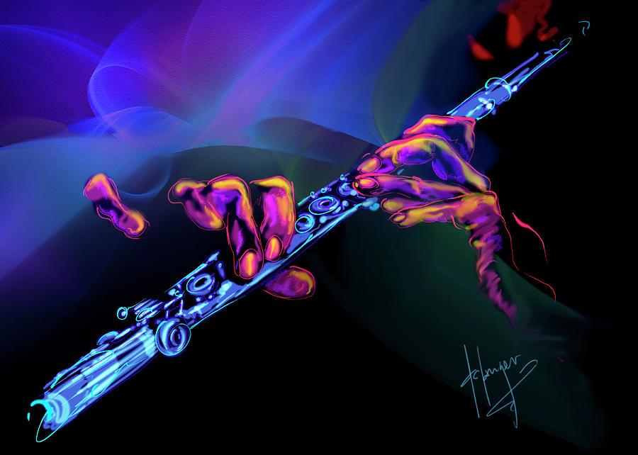 Flute Painting - Magic Flute by DC Langer