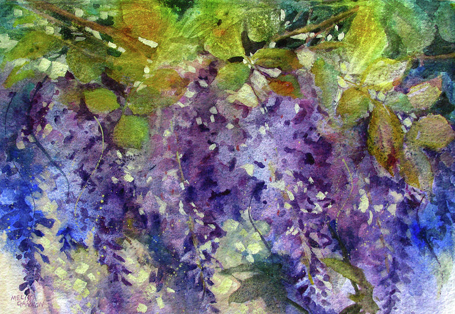Wisteria Painting - Magic in Purples and Greens by Melissa Gannon