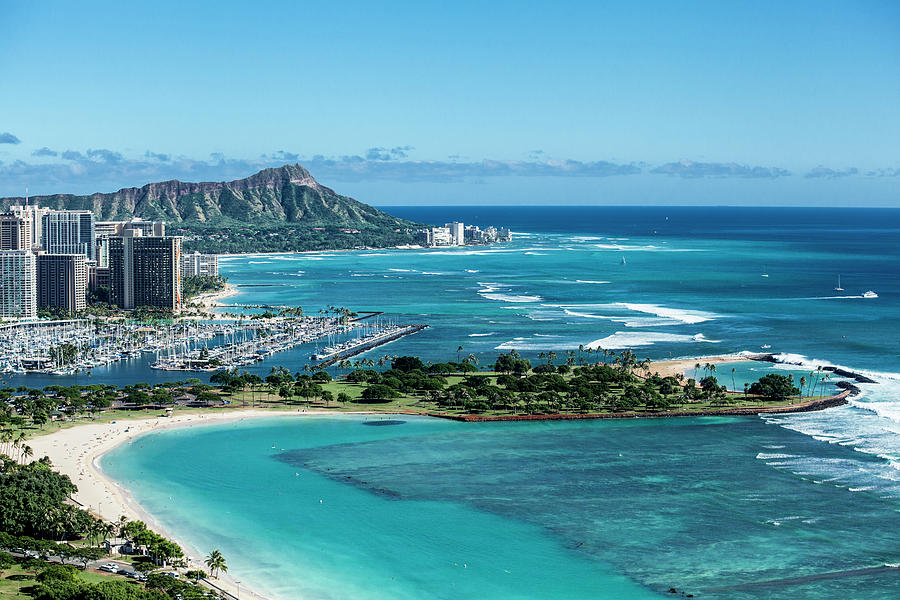 Helicopter Photograph - Magic Island to Diamond Head by Sean Davey