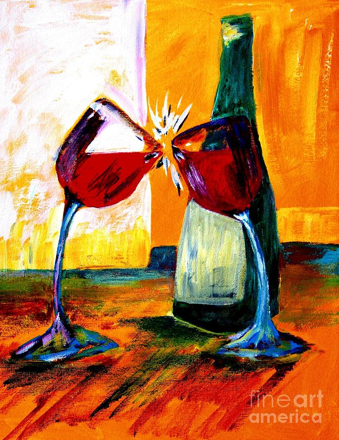 Wine Glasses Painting - Magic by Julie Lueders