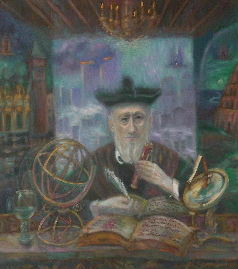 9-11 Painting - Magic Mirror Of Nostradamus.Nine-Eleven.Artists Self-portrait. by Edward Tabachnik