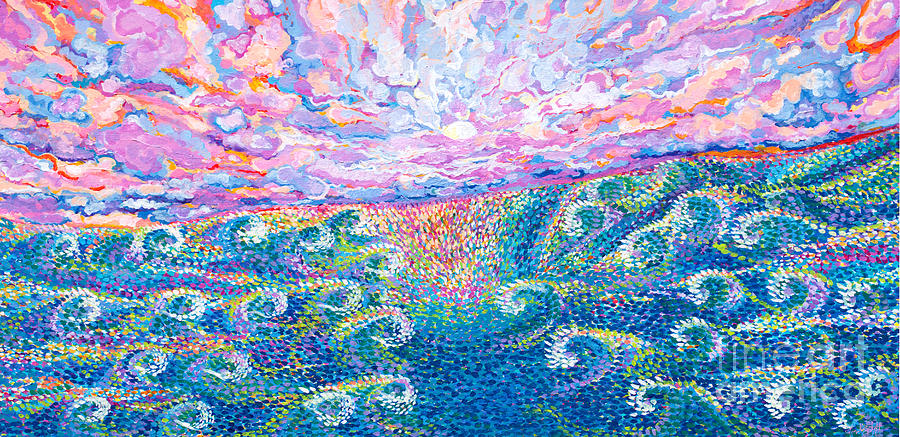 Magic moon and Sea swell Painting by Priscilla Batzell Expressionist Art Studio Gallery