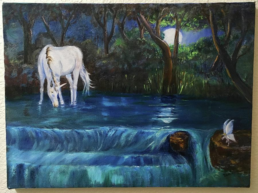 Unicorn Painting - Magic Night by Sharon Beadles