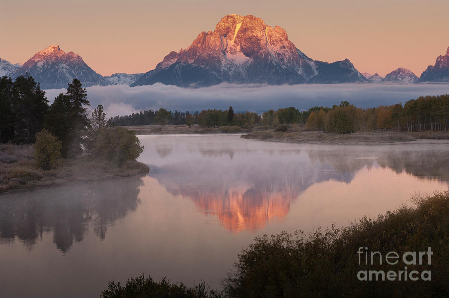 Landscape Photograph - Magic Of Dawn At Oxbow  Bend by Sandra Bronstein