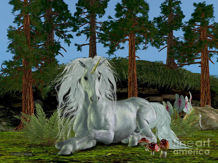Unicorn Painting - Magic Woodland by Corey Ford