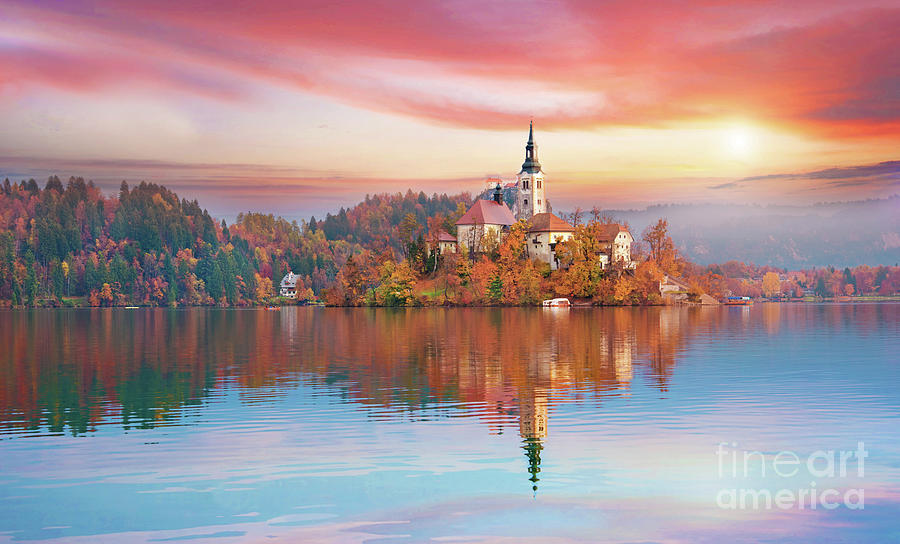 Magical Autumn Landscape With The Island On Lake Bled Slovenia