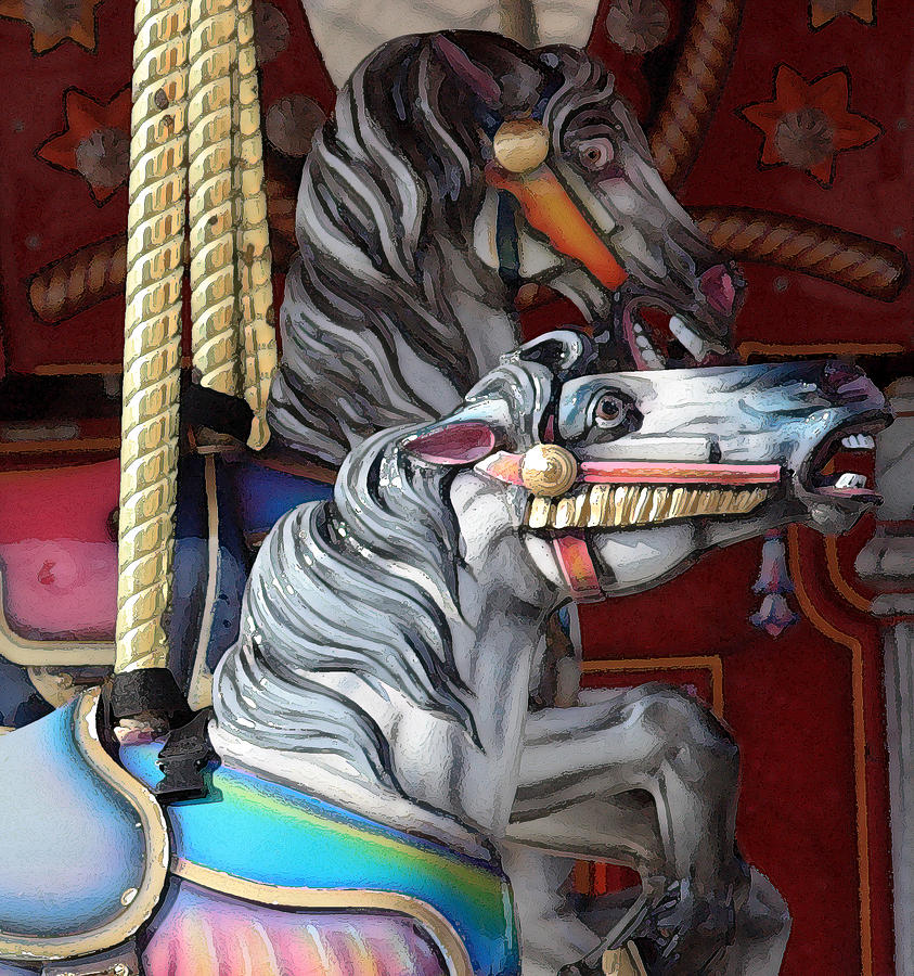 Merry-go-round Photograph - Magical Carousel by Mary Haber