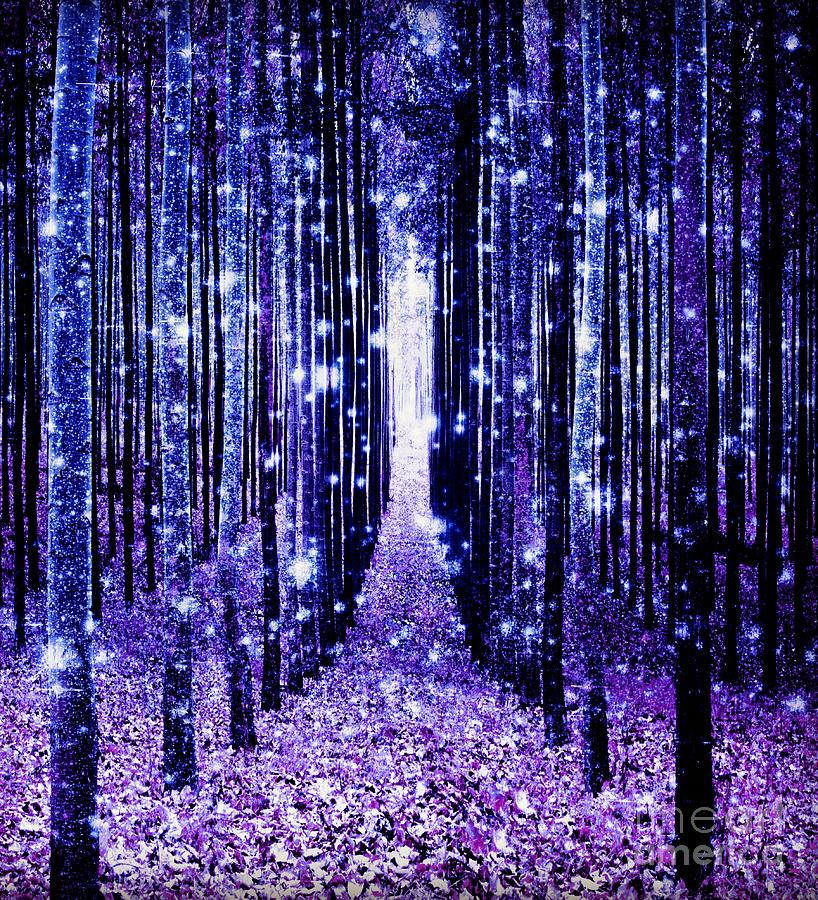 magical forest blue purple digital art by johari smith