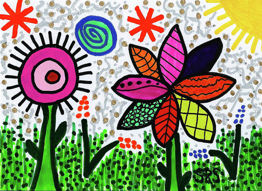 Vibrant Drawing - Magical May Mod Pop by Susan Schanerman