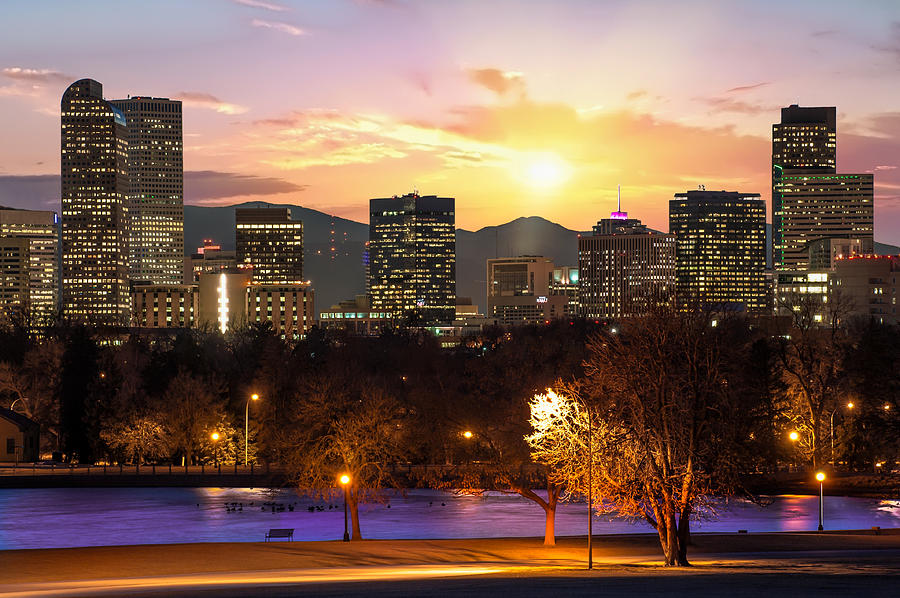 America Photograph - Magical Mountain Sunset - Denver Colorado Downtown Skyline by Gregory Ballos