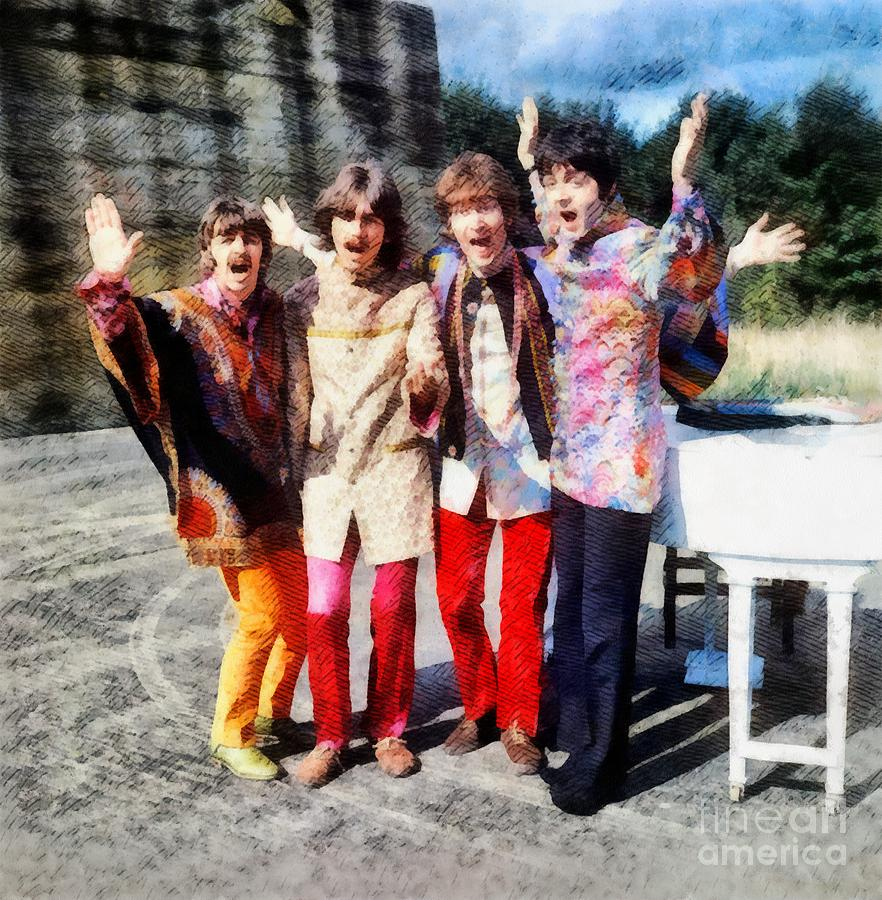 Hollywood Painting - Magical Mystery Tour, The Beatles by Esoterica Art Agency