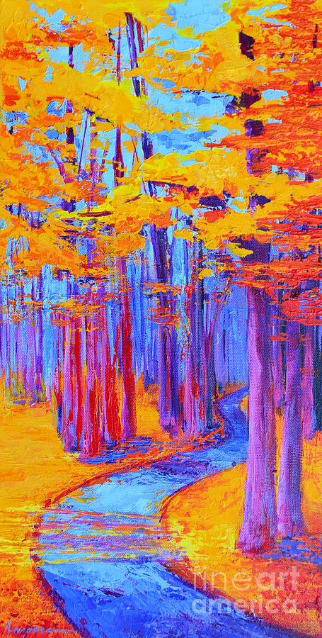 Magical Path - Enchanted Forest Collection - Modern Impressionist Landscape Art - Palette Knife work by Patricia Awapara