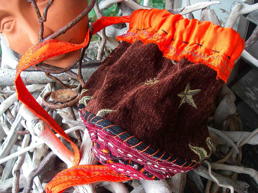 Moon Tapestry - Textile - Magical Pouch - Nomadic Bag by Krisha Fairchild