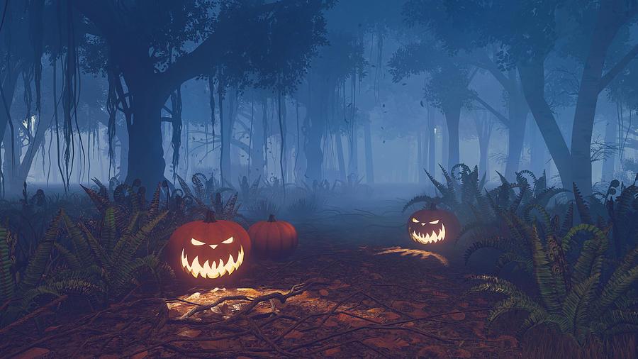 halloween digital art magical trail by marina likholat