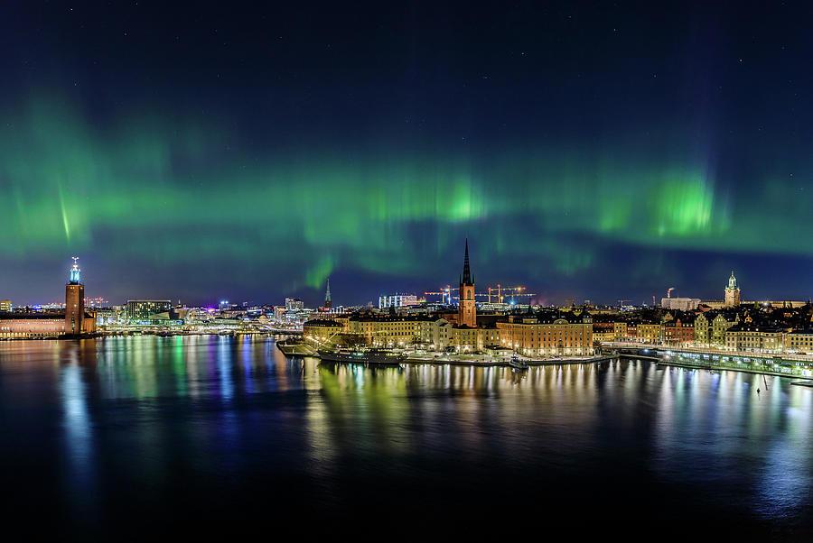 Aurora Borealis Photograph - Magnificent Aurora Dancing over Stockholm by Dejan Kostic