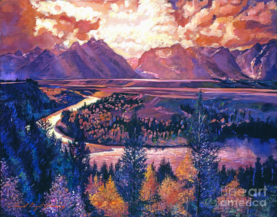Mountains Painting - Magnificent Grand Tetons by David Lloyd Glover