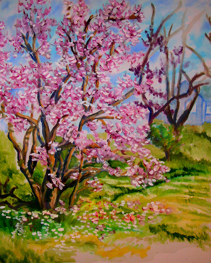 Landscape Painting - Magnolia - Late Spring by Laura Heggestad