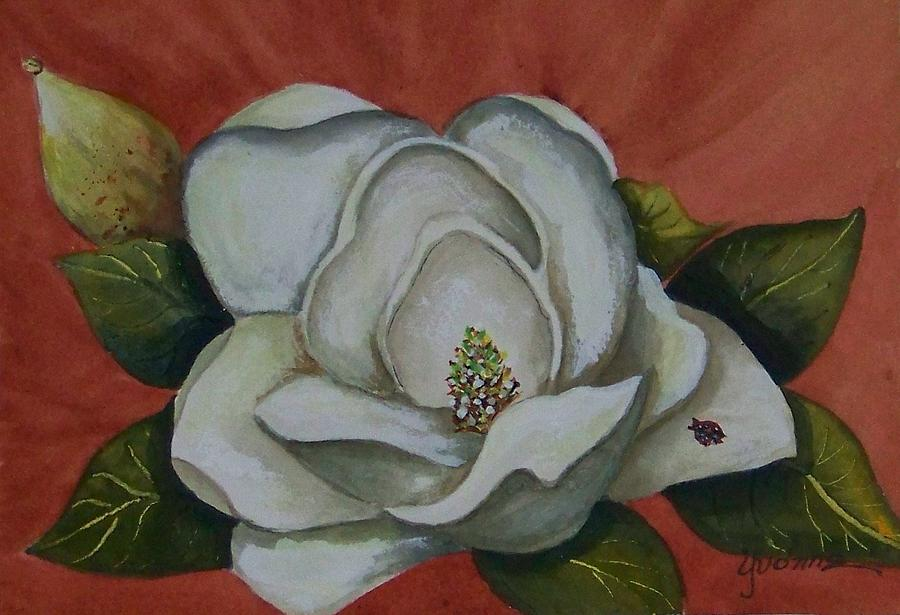 Flowers Painting - Magnolia Bloom With Ladybug by Yvonne Kinney