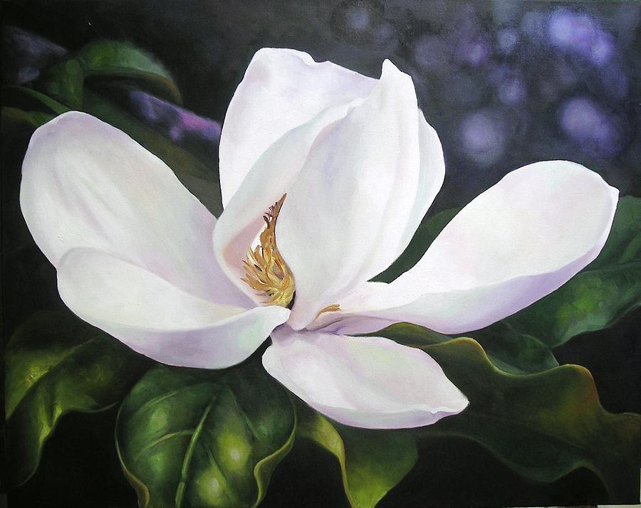 Magnolia Flower Painting by Chris Hobel