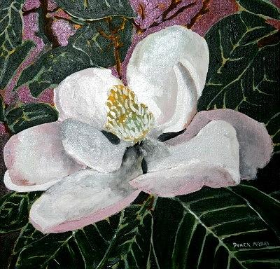 Acrylic Painting - Magnolia Flower Painting by Derek Mccrea