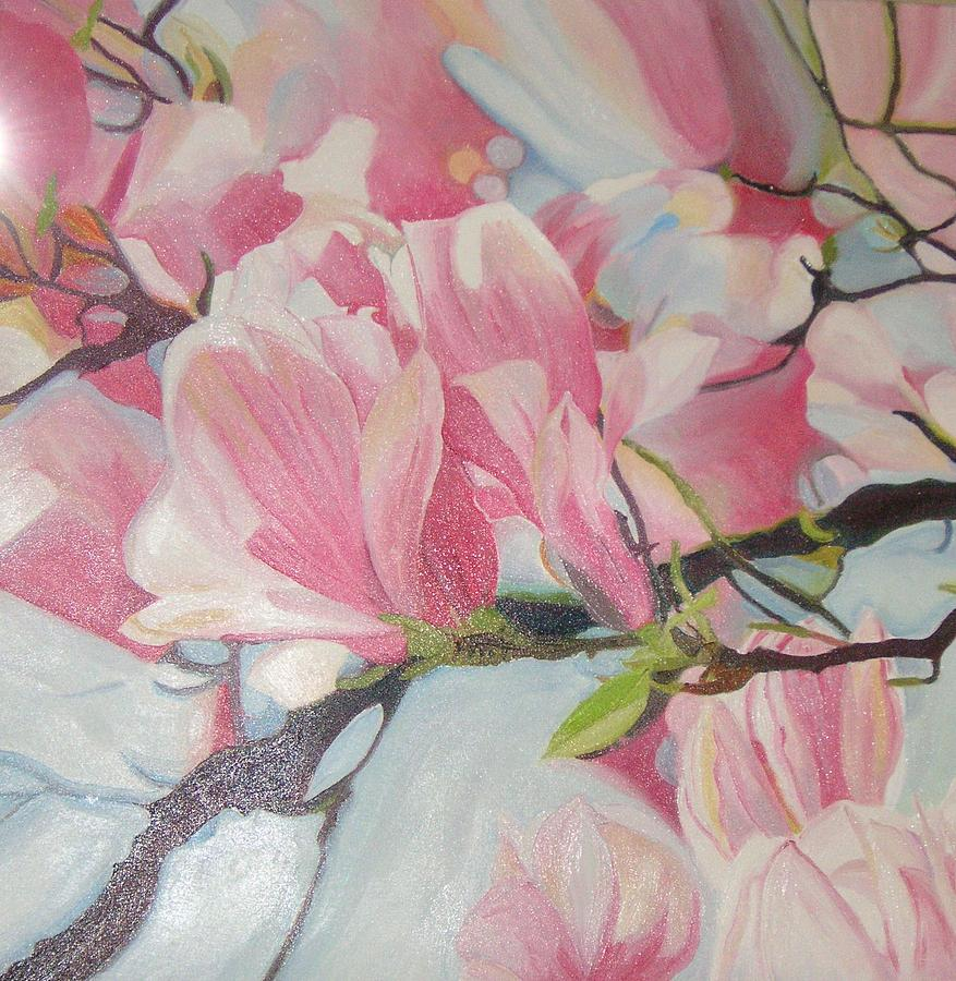 Magnolia Flowers Painting by Ewald Smykomsky at Gallery Cafe of Kathlin Austin