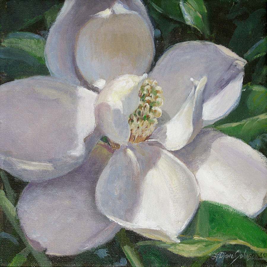 Magnolia Painting By L Diane Johnson