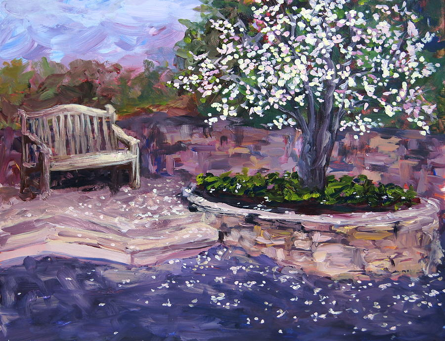 Magnolia Tree At The Botanic Gardens Painting By Mary Haas